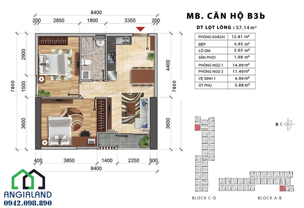 Mặt bằng thiết kế căn hộ Charmington Iris 2PN-1WC