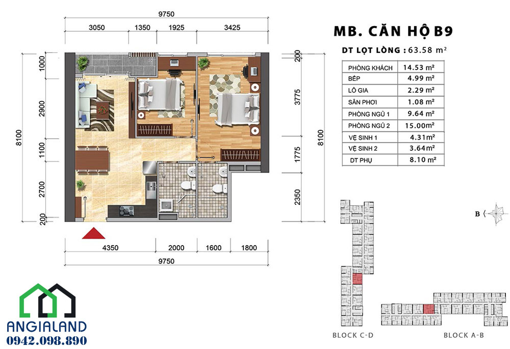 Mặt bằng thiết kế căn hộ Charmington Iris diện tích 63m2, 2PN-2WC