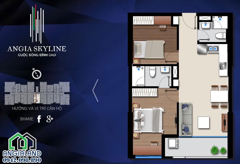 Thiết kế căn hộ chung cư An Gia Skyline 68m2 cho thuê - Liên hệ 0942.098.890 xem nhà thực tế