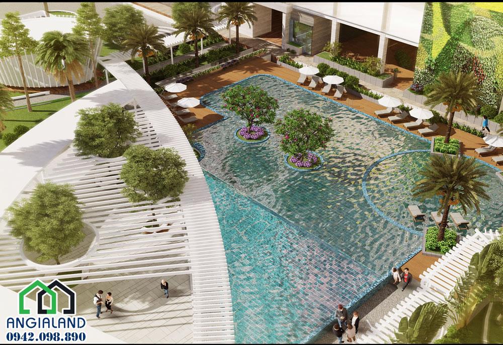 Hồ bơi trung tâm ngay tại tầng trệt rộng hơn 500m2 căn hộ Charmington Iris Quận 4