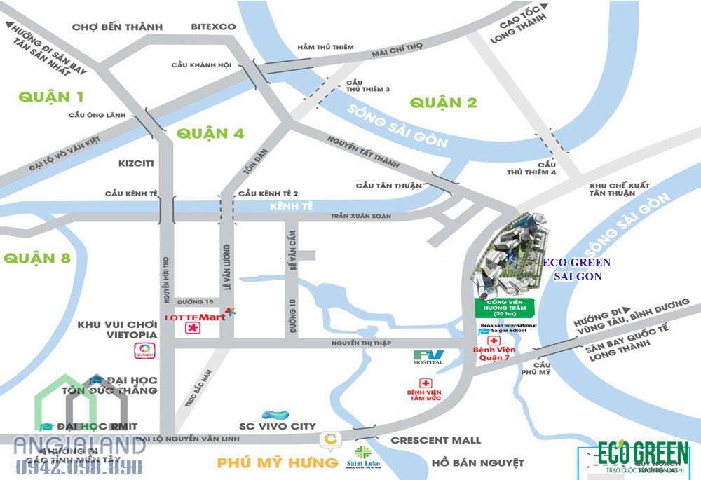 Vị trí dự án Eco Green Sài Gòn Quận 7 tọa lạc tại vị trí đắc địa nhất quận 7 mặt tiền Đại lộ Nguyễn Văn Linh Quận 7