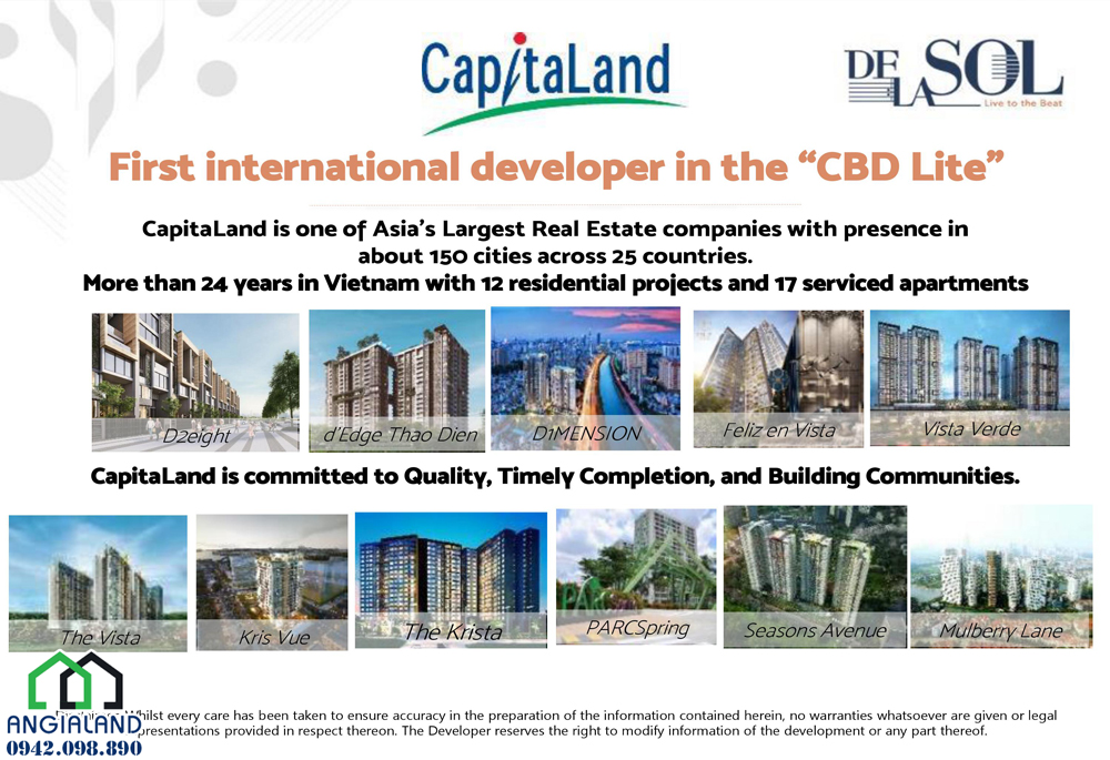 Chủ đầu tư dự  án De La Sol Capitaland