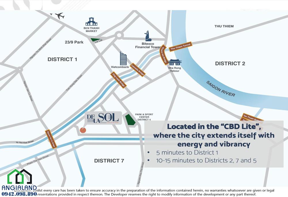 Vị trí dự án De La Sol Capitaland nằm đường Tôn Thất Thuyết Quận 4