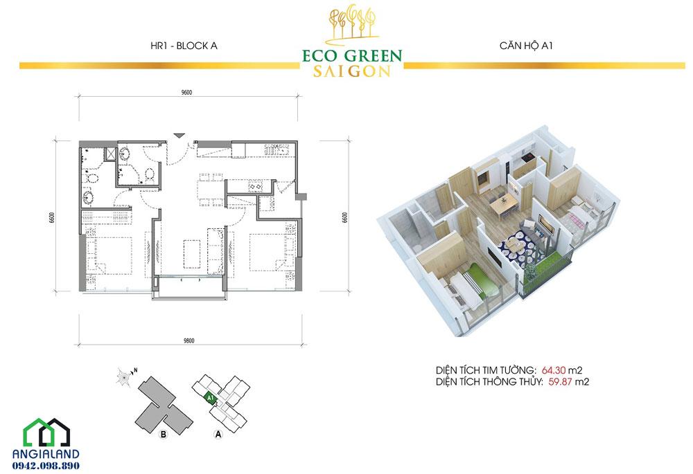 Thiết kế dự án căn hộ Eco Green Sài Gòn 2PN-1WC diện tích 64m2
