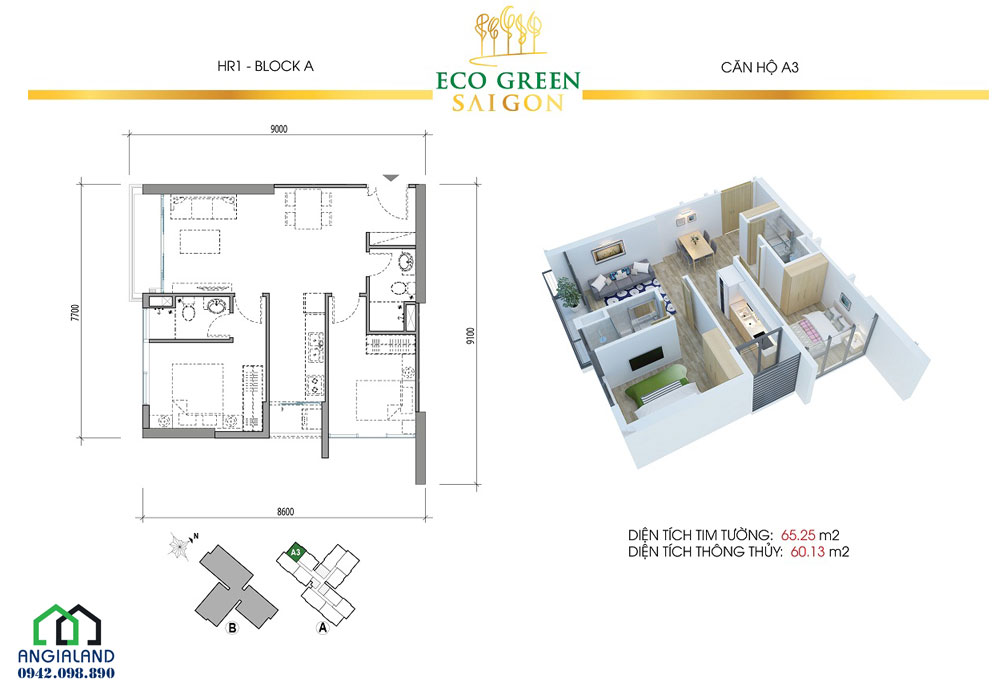 Thiết kế căn hộ Eco Green Sài Gòn Quận 7 2PN-2WC