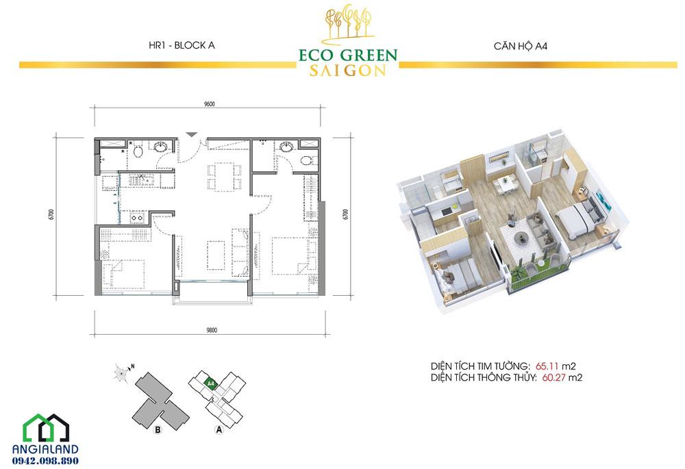 Mặt bằng thiết kế căn hộ xanh Eco Green Sài Gòn Quận 7