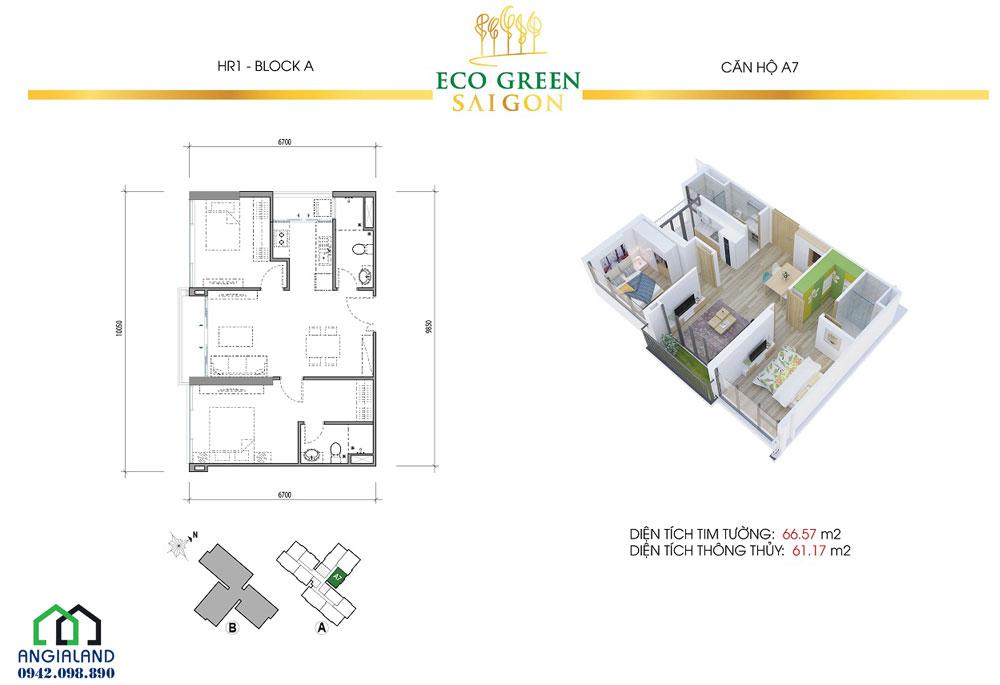 Mặt bằng căn hộ Eco Green Sài Gòn diện tích 66m2, 2PN-2WC