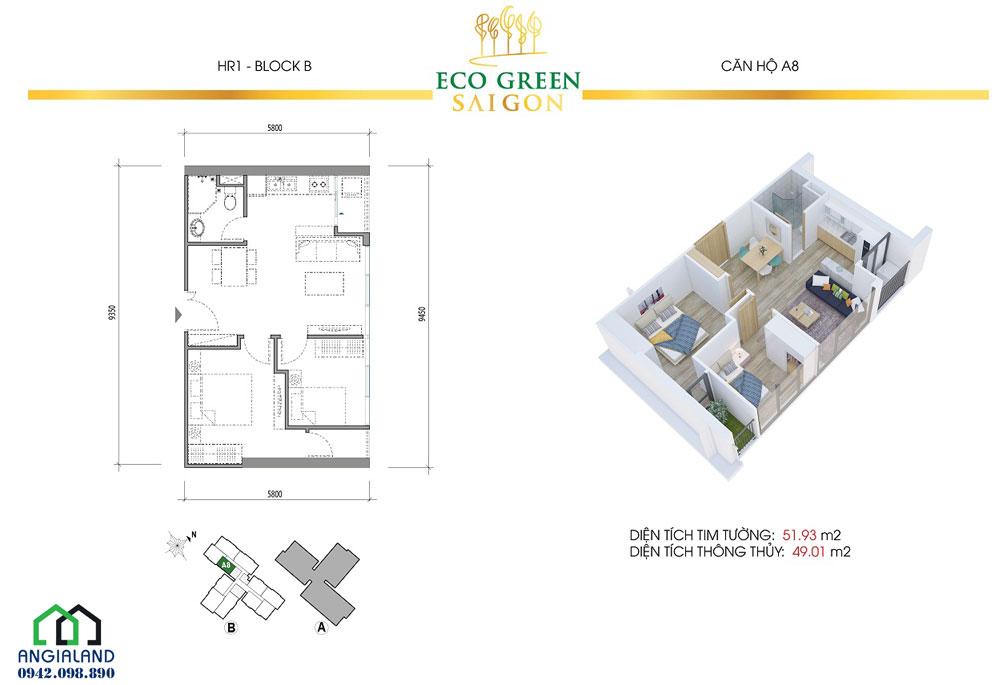 Thiết kế căn hộ Eco Green Sài Gòn 51m2, 2PN-2WC