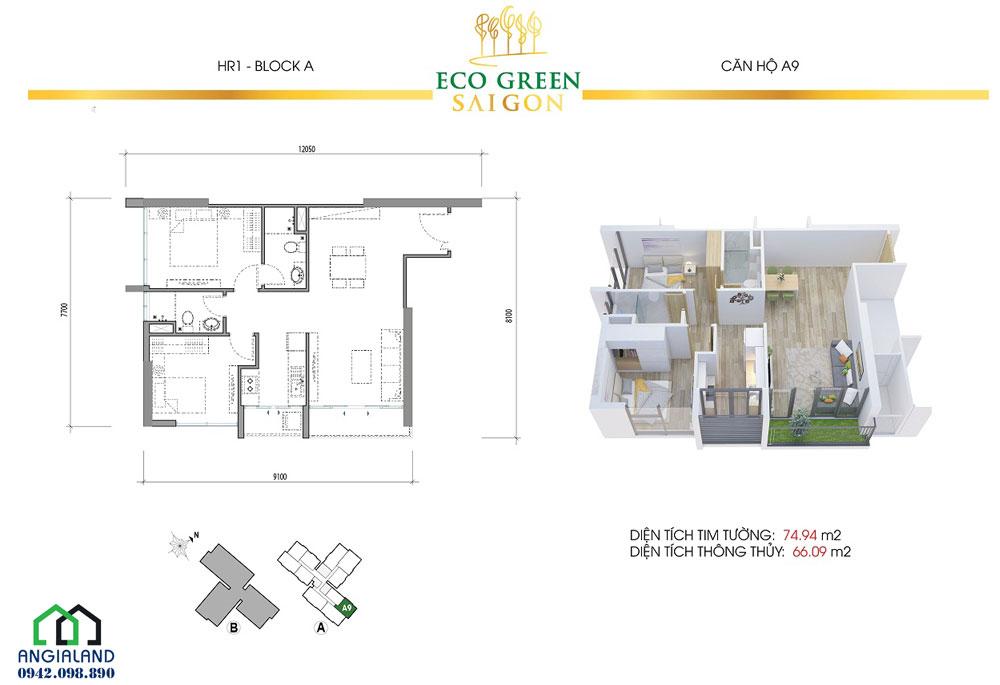 Thiết kế căn hộ chung cư Eco Green Sài Gòn 2PN-2WC