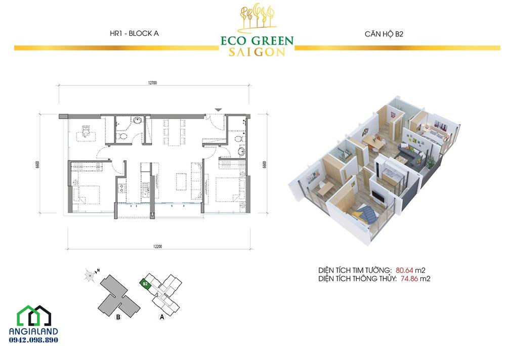 Thiết kế căn hộ Eco Green Sài Gòn Q7 2PN-2WC