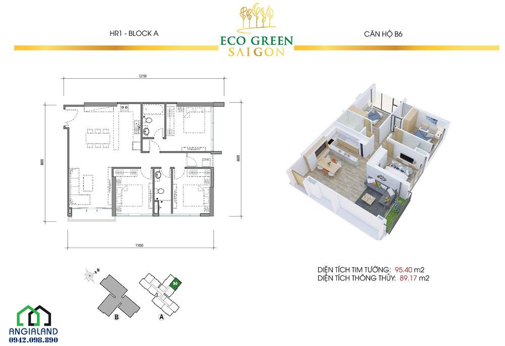 Mặt bằng thiết kế căn hộ Eco Green Sài Gòn 3PN-2WC