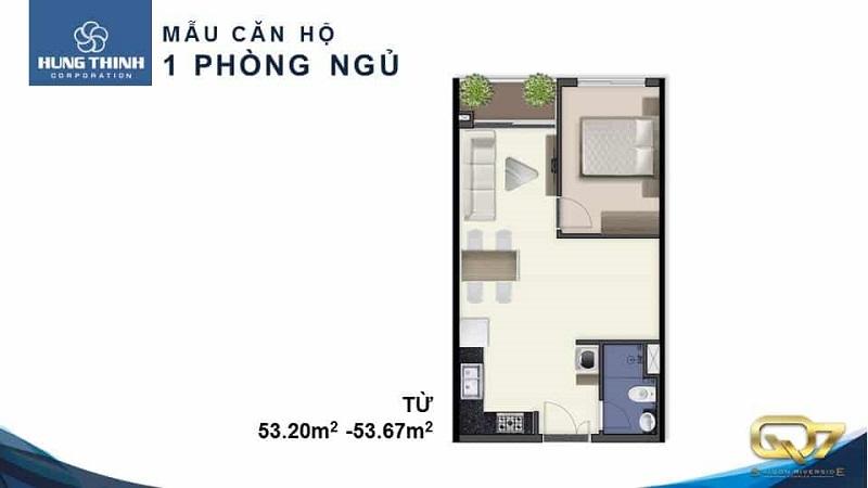 Mẫu căn hộ 1PN của Q7 Saigon Riverside Complex