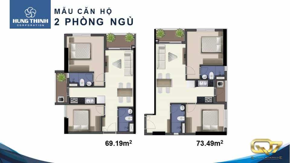 Thiết kế căn hộ 2 phòng ngủ dự án căn hộ Saigon Riverside Complex
