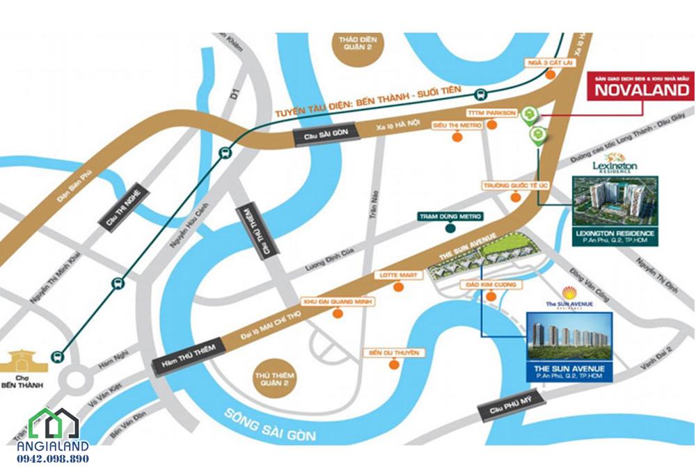 Vị trí dự án The Sun Avenue tạo lạc tại 28 Mai Chí Thọ, P. An Phú, Q. 2, Tp.HCM