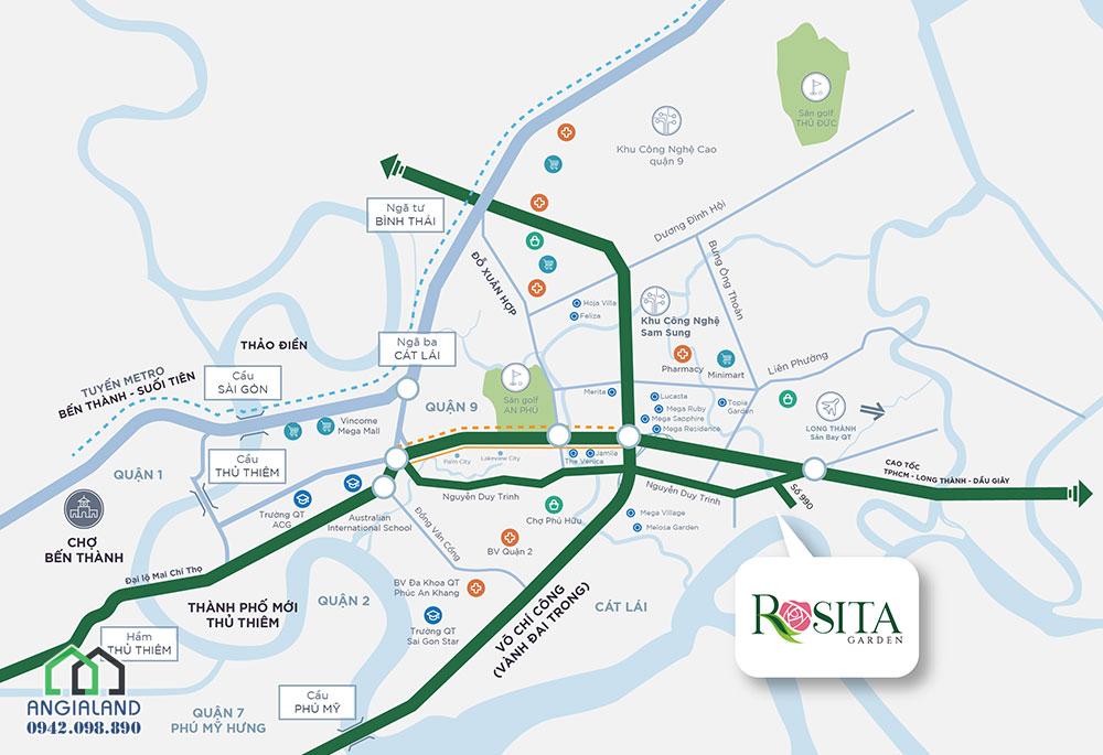 Vị trí địa chỉ dự án nhà phố Rosita Garden Quận 9