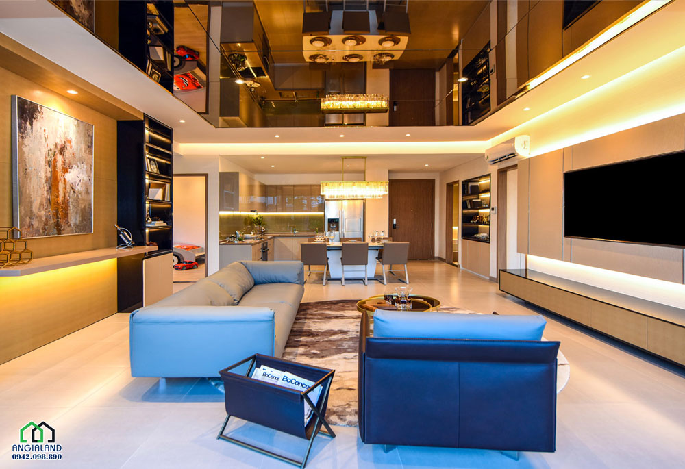 Phòng khách dự án căn hộ mẫu Eco Green Sài Gòn Quận 7