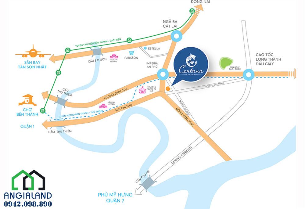 Đia chỉ vị trí dự án căn hộ Centana Thủ Thiêm Quận 2