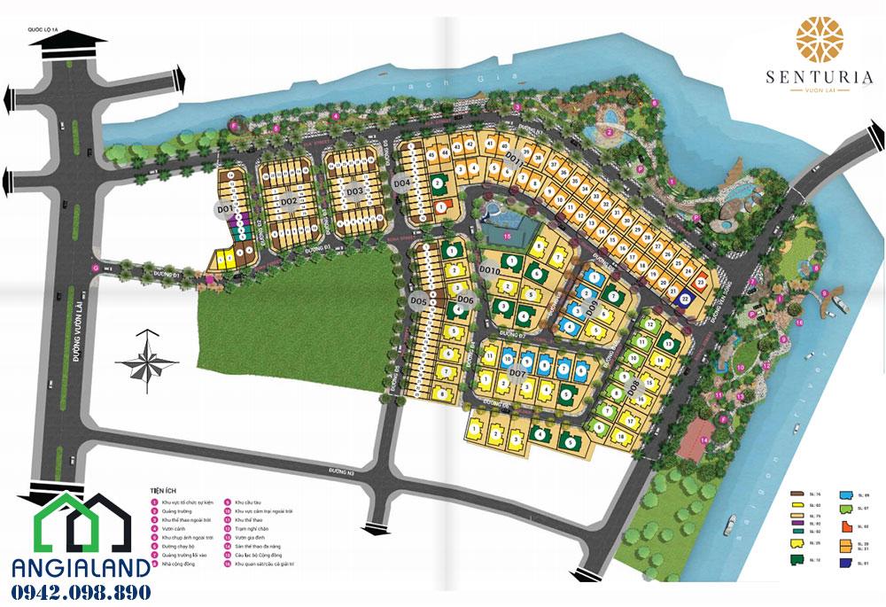 Mặt bằng dự án biệt thự Senturia Quận 12