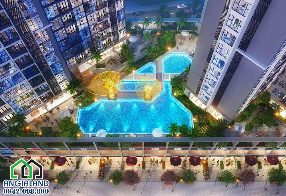 Hồ bơi tràn bờ tại chung cư Eco Green Sài Gòn Q7