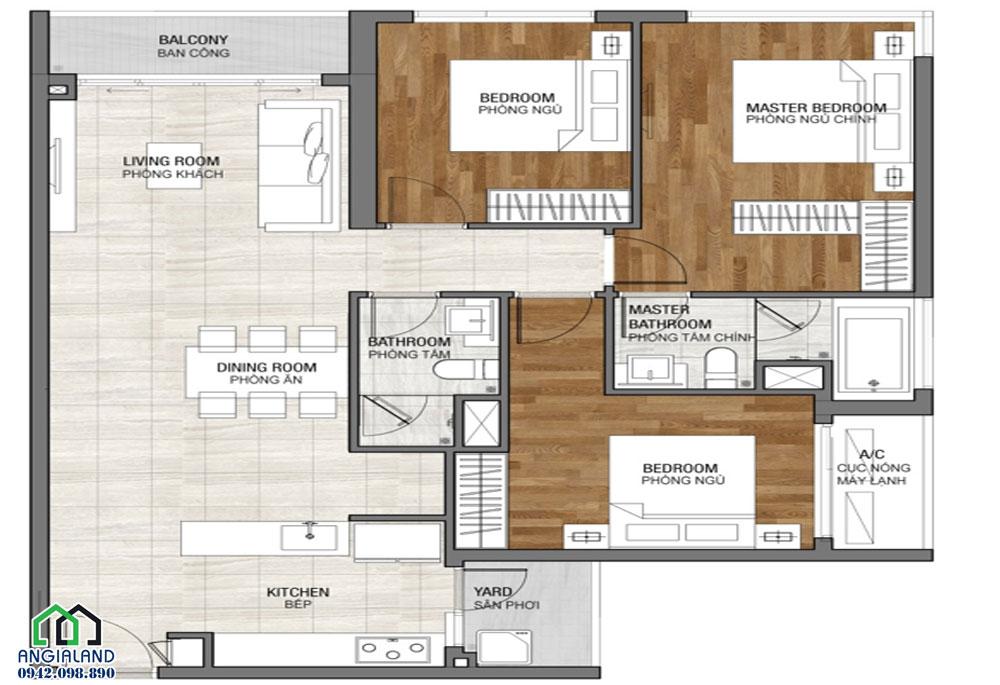 Thiết kế căn hộ 2 phòng ngủ dự án căn hộ Vincit Grand Park Quận 9