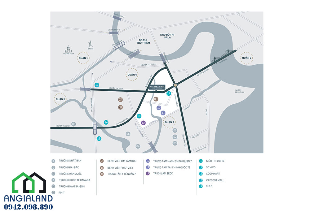 Vị trí địa chỉ dự án South Gate Tower Quận 7