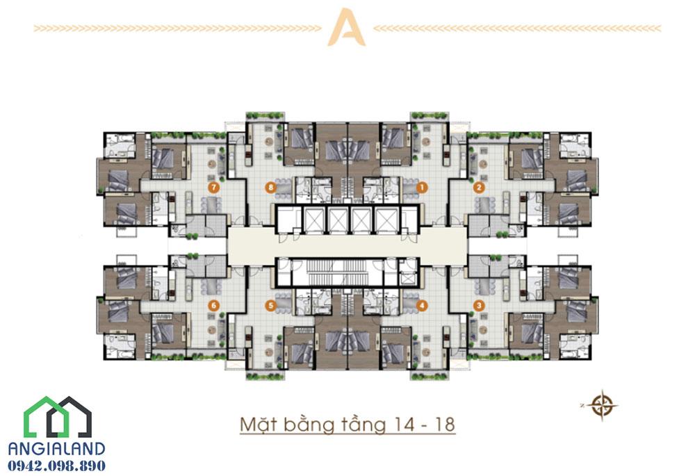 Mặt bằng thiết kế tầng 14 dự án căn hộ Ascent Plaza Quận Bình Thạnh