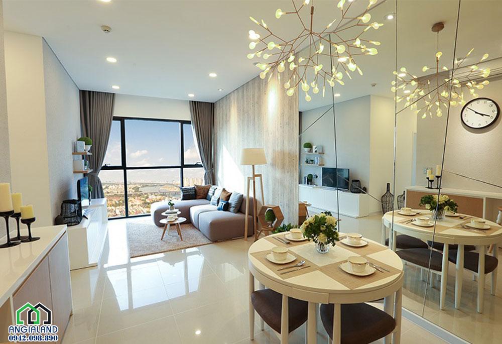 không gian khu vực phòng khách nhà mẫu 2 pn dự án Ascent Plaza Quận Bình Thạnh
