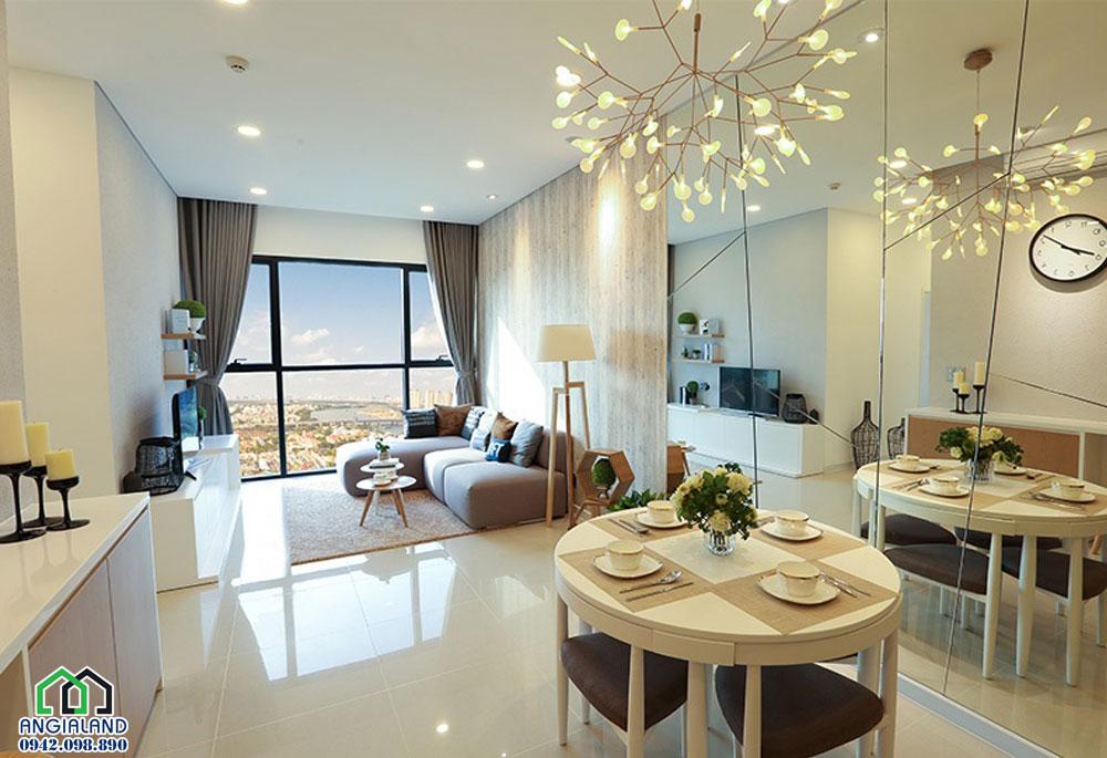không gian thoáng đảng phòng khách căn hộ 2 pn Dự án AScent Plaza Binh thanh