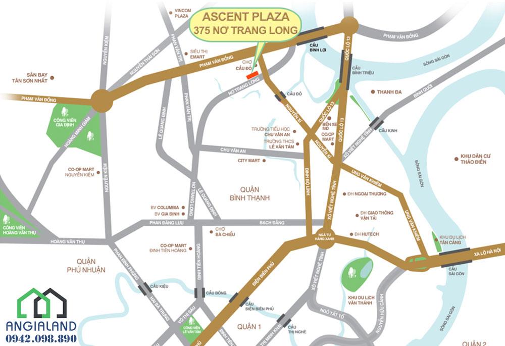 Dự án Ascent Plaza tọa lạc tại 375 Nơ Trang long, Phường 13, Quận Bình Thạnh