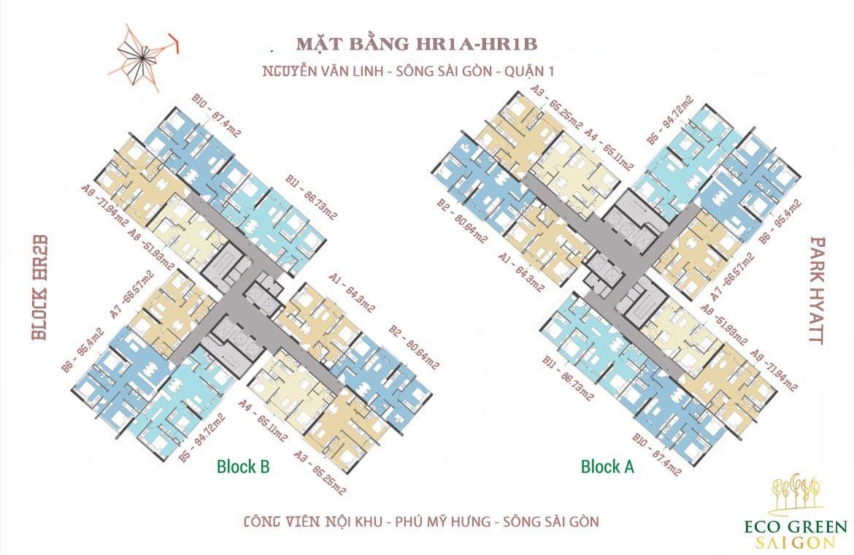 Mặt bằng HR1A và HR1B dự án căn hộ Eco Green Sài Gòn Quận 7