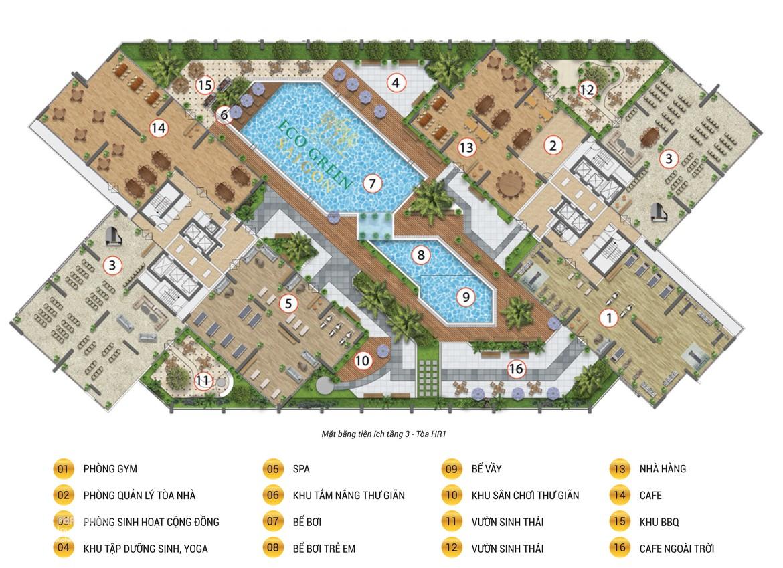 Mặt bằng tiện ích tầng 03 dự án căn hộ Eco Saigon Quận 7