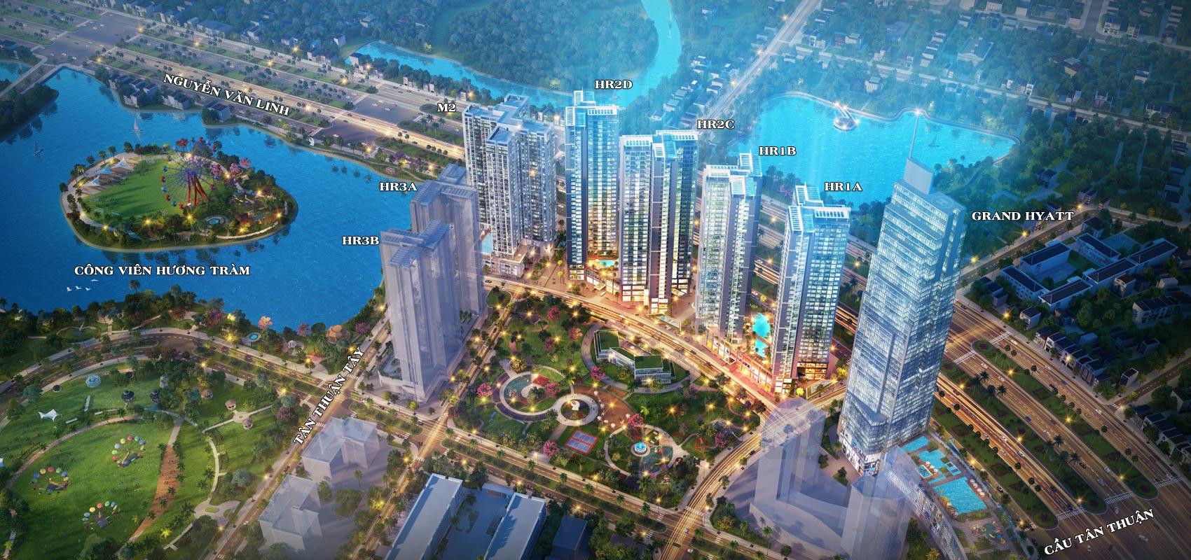 Quy mô tổng thể Eco Green Sài Gòn quận 7 với hơn 14 hecta và công viên Hương Tràm bên cạnh rộng hơn 22 hecta