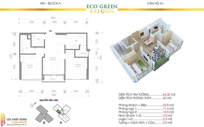 Thiết kế chi tiết căn hộ Eco Green Sài Gòn Quận 7 - Mã căn hộ A1
