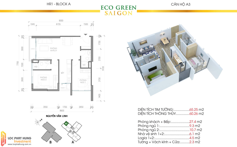 Thiết kế chi tiết căn hộ Eco Green Sài Gòn Quận 7 - Mã căn hộ A3