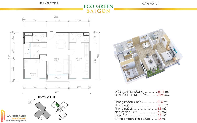 Thiết kế chi tiết căn hộ Eco Green Sài Gòn Quận 7 - Mã căn hộ A4