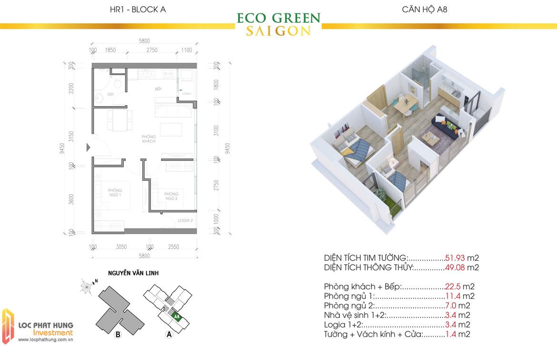 Thiết kế chi tiết căn hộ Eco Green Sài Gòn Quận 7 - Mã căn hộ A8