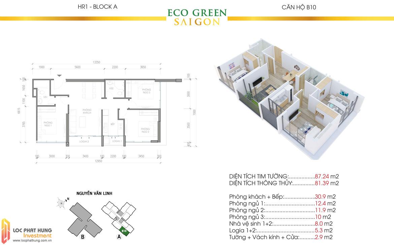 Thiết kế chi tiết căn hộ Eco Green Sài Gòn Quận 7 - Mã căn hộ B10