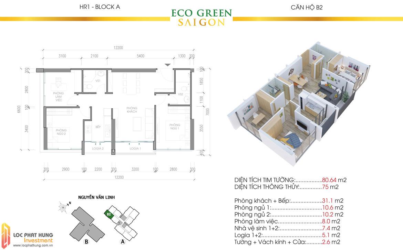 Thiết kế chi tiết căn hộ Eco Green Sài Gòn Quận 7 - Mã căn hộ B2