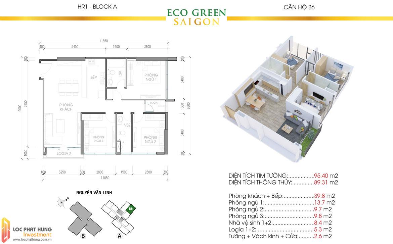 Thiết kế chi tiết căn hộ Eco Green Sài Gòn Quận 7 - Mã căn hộ B6