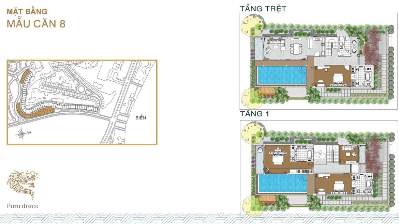 Thiết kế và bố trí mẫu biệt thự biển Para Draco KN Paradise Cam Ranh Khánh Hòa