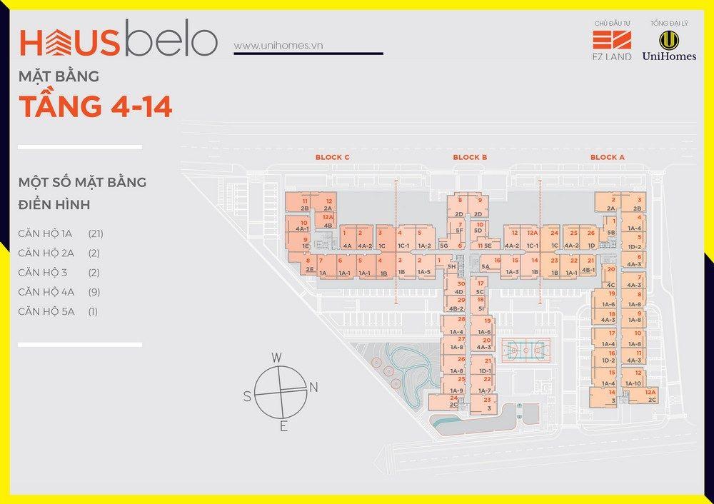 Mặt bằng thiết kế căn hộ chung cư Hausbelo Quận 9 - TẦNG 4-14 201218