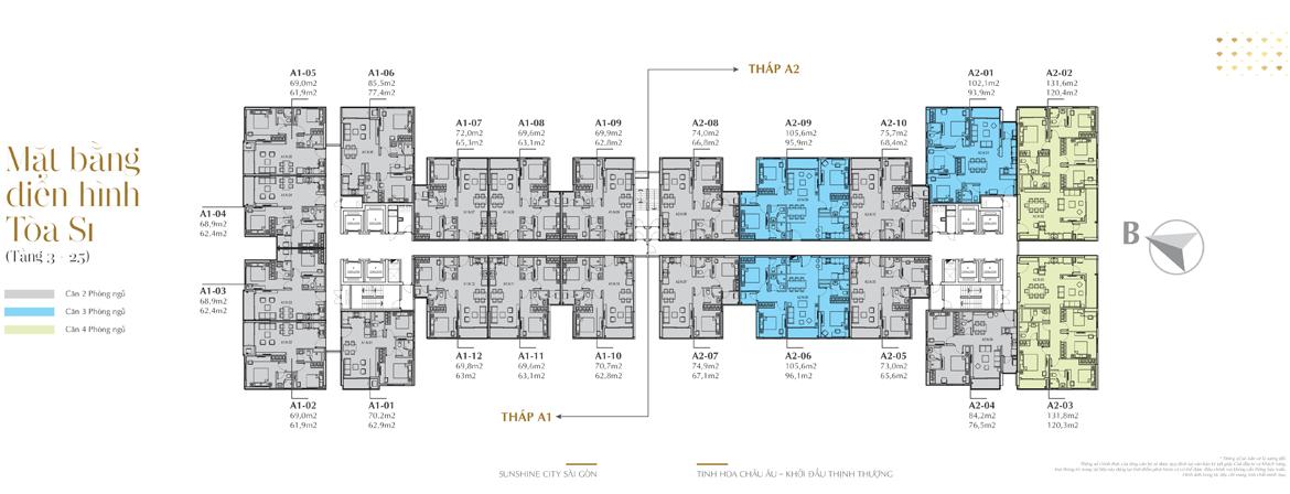 Thiết kế chi tiết căn hộ Sunshine City Sài Gòn Quận 7 Block S1 A1 và S1 A2
