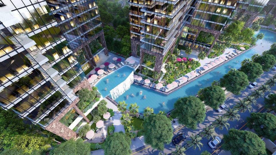 Hồ bơi trải dài từ tòa S2 đến S4 dự án căn hộ chung cư Sunshine City Sài Gòn Quận 7