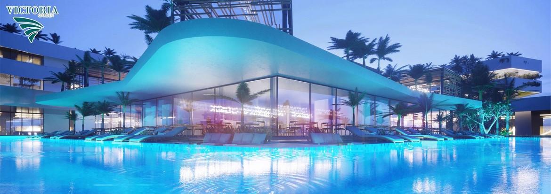 Tiện ích hồ bơi tại tầng 28 dự án căn hộ Victoria Garden Bình Chánh với view toàn cảnh Sài Gòn