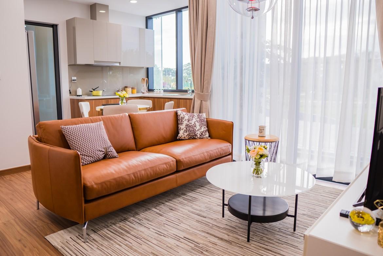 Phòng khách căn hộ mẫu Eco Green Sài Gòn quận 7 loại 2 phòng ngủ