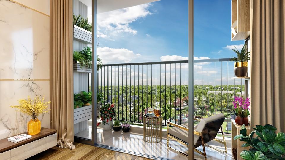 Ban công nhà mẫu dự án căn hộ chung cư Eco Green Sài Gòn Quận 7 Đường Nguyễn Văn Linh chủ đầu tư Xuân Mai