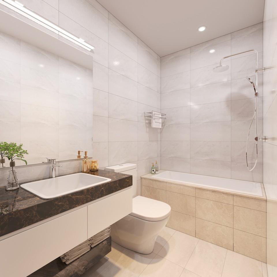 Nhà vệ sinh phòng ngủ Master nhà mẫu dự án căn hộ chung cư Eco Green Sài Gòn Quận 7 Đường Nguyễn Văn Linh chủ đầu tư Xuân Mai