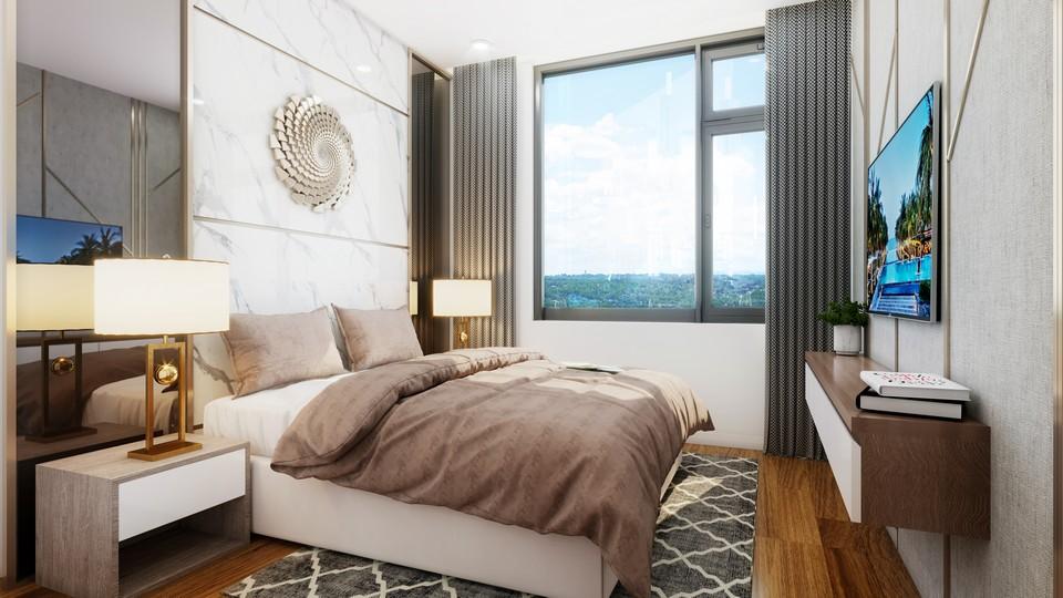 Phòng ngủ 2 nhà mẫu dự án căn hộ chung cư Eco Green Sài Gòn Quận 7 Đường Nguyễn Văn Linh chủ đầu tư Xuân Mai