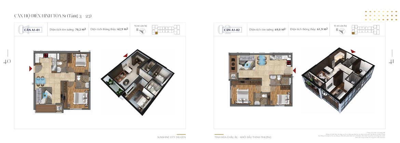 Thiết kế chi tiết căn hộ Sunshine City Sài Gòn Quận 7 Block S1-A1-01-+-A1-02
