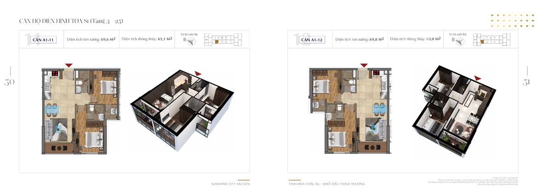 Thiết kế chi tiết căn hộ Sunshine City Sài Gòn Quận 7 Block S1-A1-11-+-A1-12